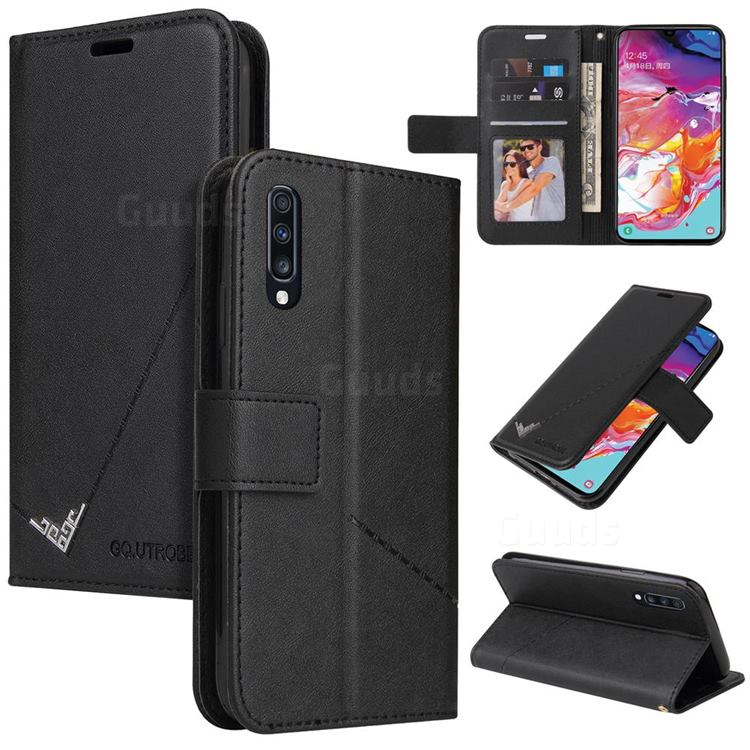 GQ.UTROBE Right Angle Silver Pendant Leather Wallet Phone Case for Samsung Galaxy A50 - Black