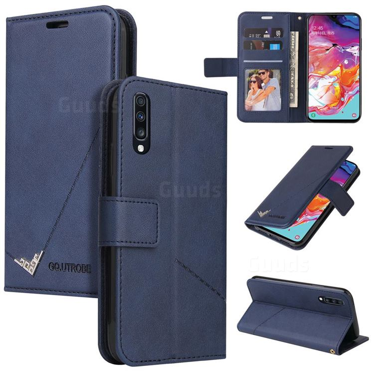 GQ.UTROBE Right Angle Silver Pendant Leather Wallet Phone Case for Samsung Galaxy A50 - Blue