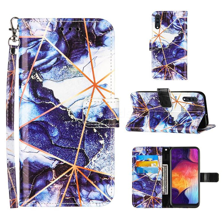 Starry Blue Stitching Color Marble Leather Wallet Case for Samsung Galaxy A50