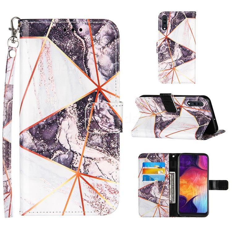 Black and White Stitching Color Marble Leather Wallet Case for Samsung Galaxy A50