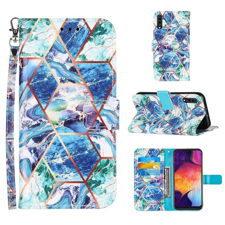 Green and Blue Stitching Color Marble Leather Wallet Case for Samsung Galaxy A50