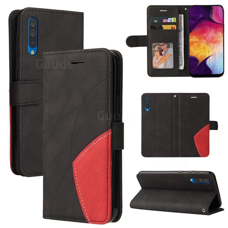 Luxury Two-color Stitching Leather Wallet Case Cover for Samsung Galaxy A50 - Black