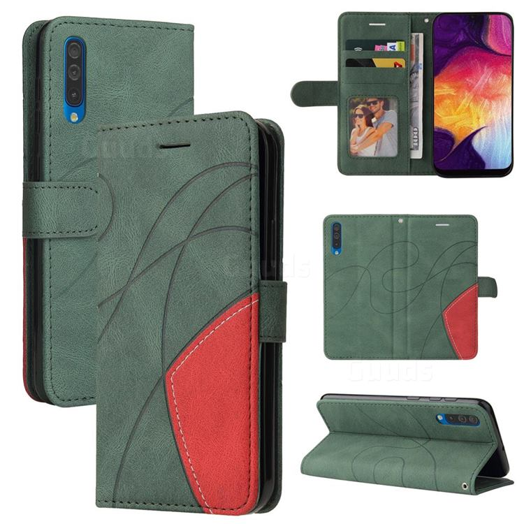 Luxury Two-color Stitching Leather Wallet Case Cover for Samsung Galaxy A50 - Green