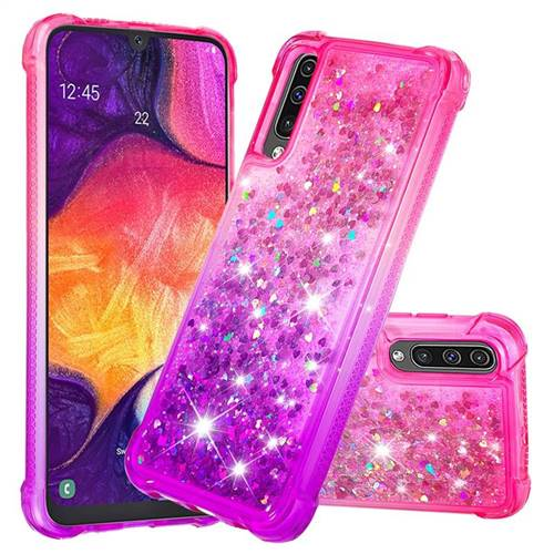 Rainbow Gradient Liquid Glitter Quicksand Sequins Phone Case for Samsung Galaxy A50s - Pink Purple