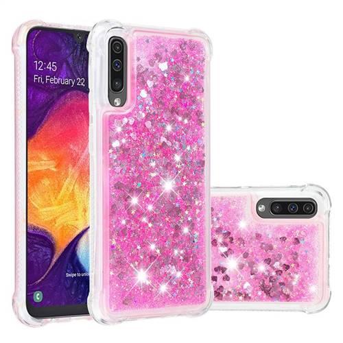 Dynamic Liquid Glitter Sand Quicksand TPU Case for Samsung Galaxy A50s - Pink Love Heart