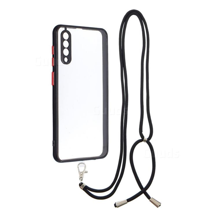 Necklace Cross-body Lanyard Strap Cord Phone Case Cover for Samsung Galaxy A50s - Black