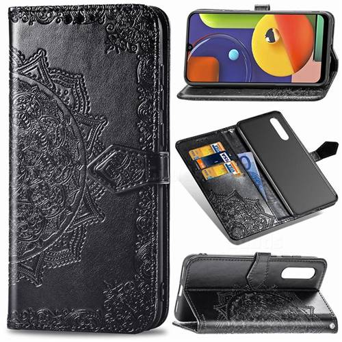 Embossing Imprint Mandala Flower Leather Wallet Case for Samsung Galaxy A50s - Black