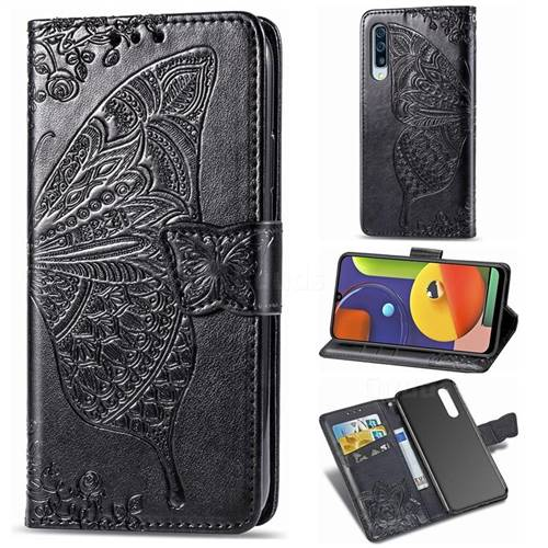 Embossing Mandala Flower Butterfly Leather Wallet Case for Samsung Galaxy A50s - Black