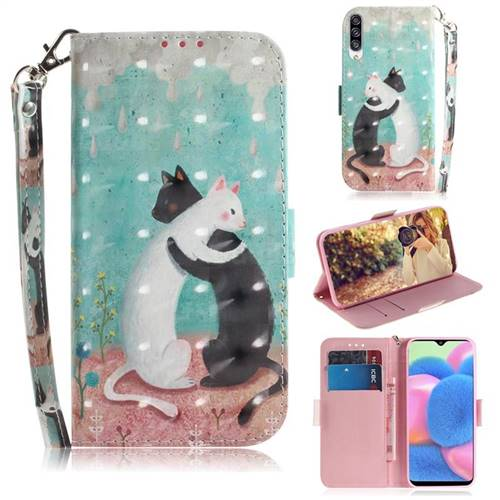 Black and White Cat 3D Painted Leather Wallet Phone Case for Samsung Galaxy A50s