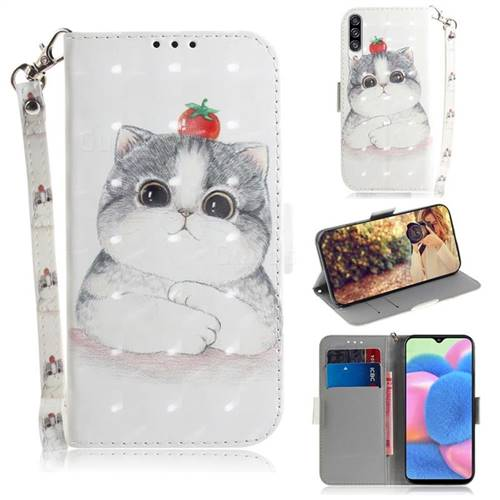 Cute Tomato Cat 3D Painted Leather Wallet Phone Case for Samsung Galaxy A50s
