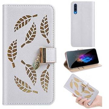 Hollow Leaves Phone Wallet Case for Samsung Galaxy A50s - Silver