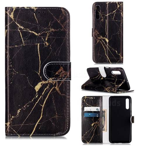 Black Gold Marble PU Leather Wallet Case for Samsung Galaxy A50s