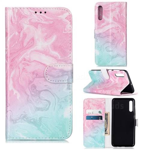 Pink Green Marble PU Leather Wallet Case for Samsung Galaxy A50s