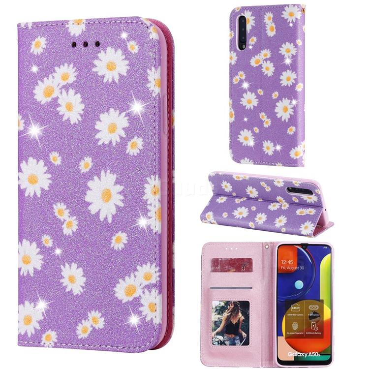 Ultra Slim Daisy Sparkle Glitter Powder Magnetic Leather Wallet Case for Samsung Galaxy A50s - Purple
