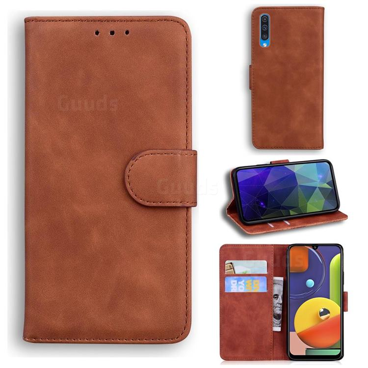 Retro Classic Skin Feel Leather Wallet Phone Case for Samsung Galaxy A50s - Brown