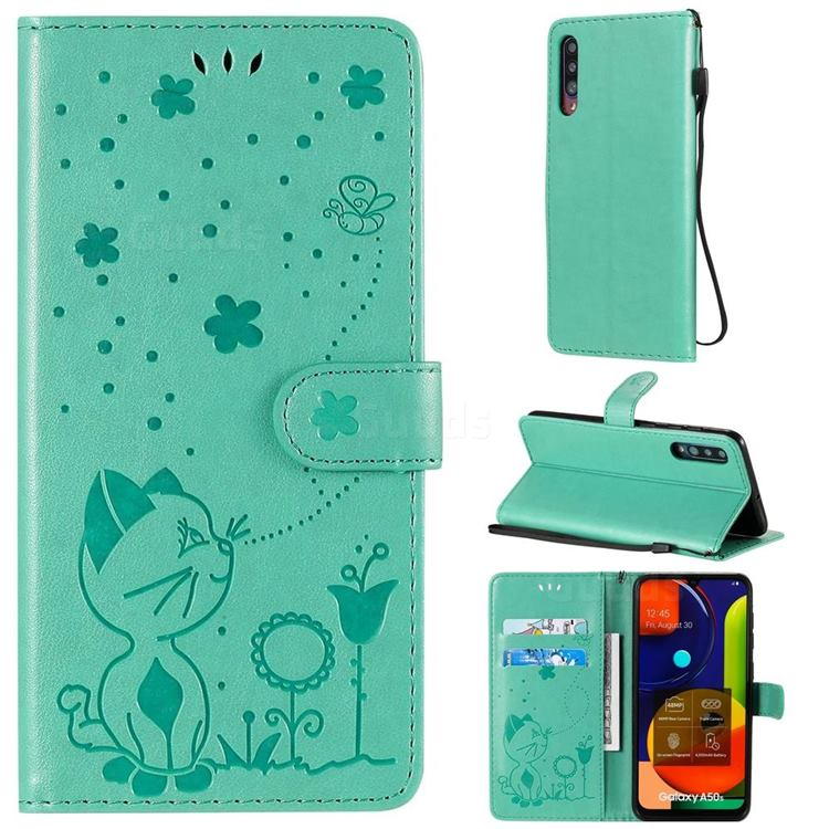 Embossing Bee and Cat Leather Wallet Case for Samsung Galaxy A50s - Green