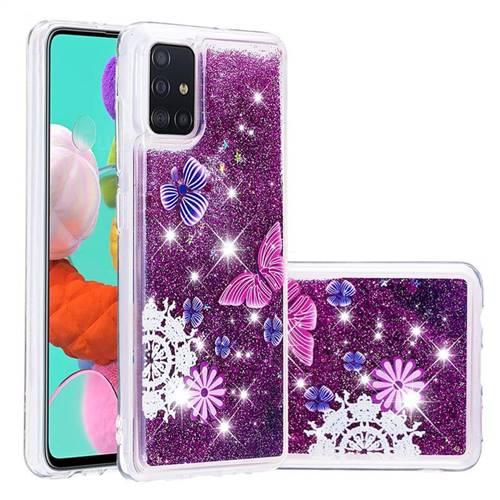 Purple Flower Butterfly Dynamic Liquid Glitter Quicksand Soft TPU Case for Samsung Galaxy A51