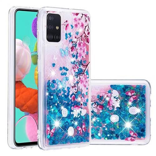 Blue Plum Blossom Dynamic Liquid Glitter Quicksand Soft TPU Case for Samsung Galaxy A51