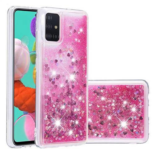 Dynamic Liquid Glitter Quicksand Sequins TPU Phone Case for Samsung Galaxy A51 - Rose