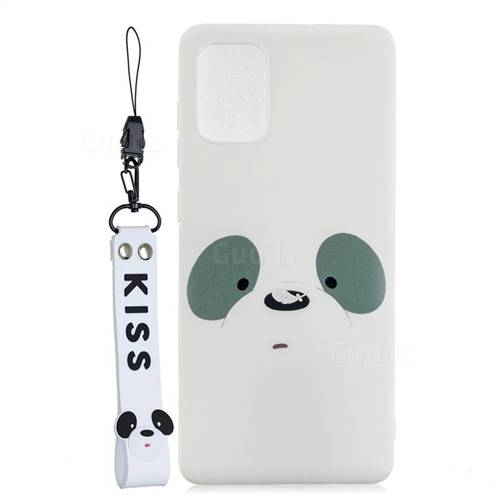 White Feather Panda Soft Kiss Candy Hand Strap Silicone Case for Samsung Galaxy A51
