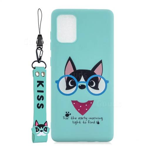 Green Glasses Dog Soft Kiss Candy Hand Strap Silicone Case for Samsung Galaxy A51