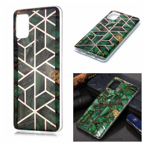 Green Rhombus Galvanized Rose Gold Marble Phone Back Cover for Samsung Galaxy A51