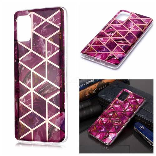 Purple Rhombus Galvanized Rose Gold Marble Phone Back Cover for Samsung Galaxy A51