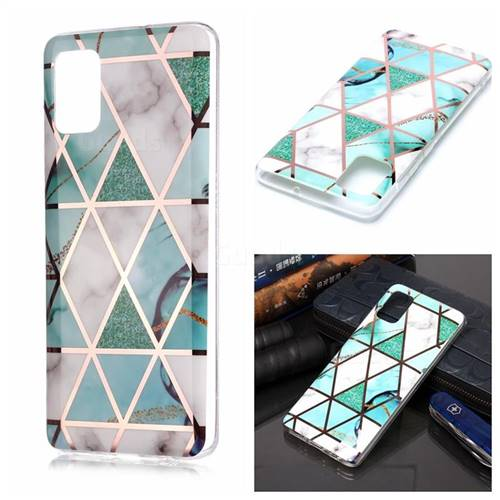 Green White Galvanized Rose Gold Marble Phone Back Cover for Samsung Galaxy A51