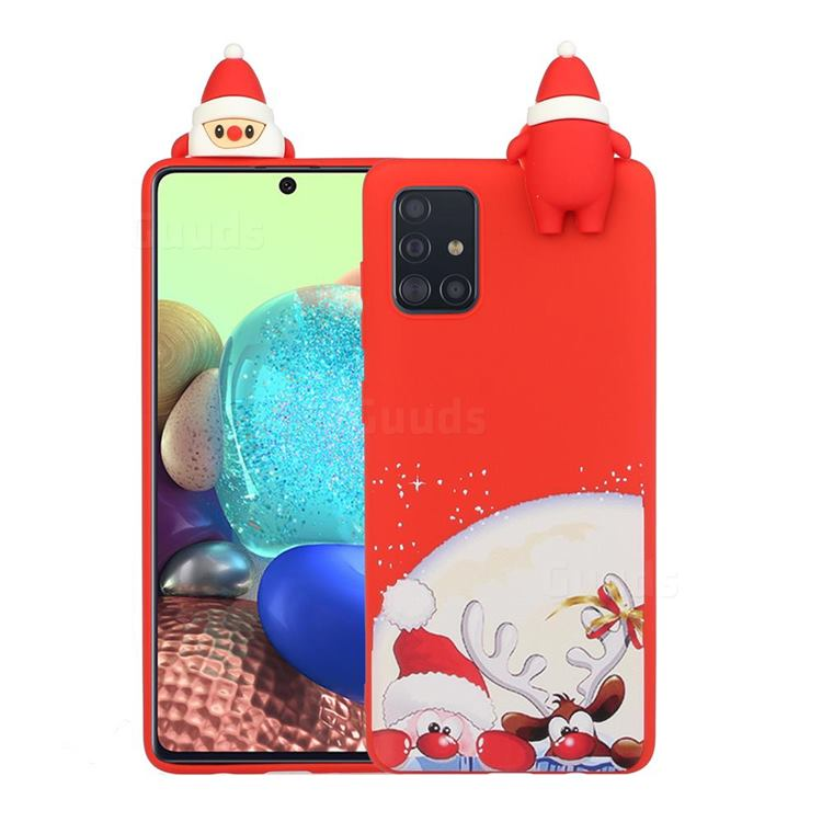 Santa Claus Elk Christmas Xmax Soft 3D Doll Silicone Case for Samsung Galaxy A51 4G