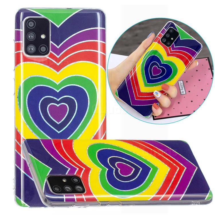 Rainbow Heart Painted Galvanized Electroplating Soft Phone Case Cover for Samsung Galaxy A51 4G