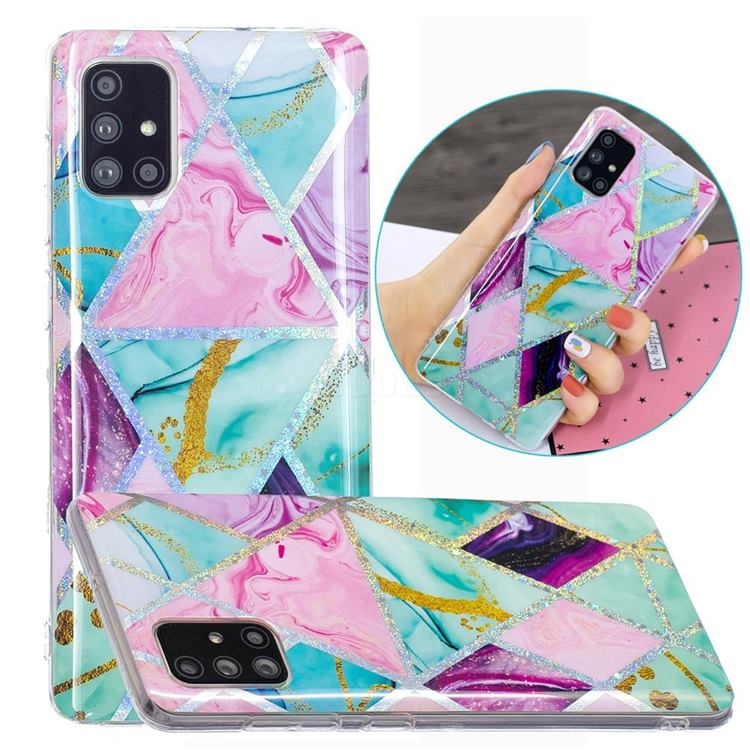 Triangular Marble Painted Galvanized Electroplating Soft Phone Case Cover for Samsung Galaxy A51 4G