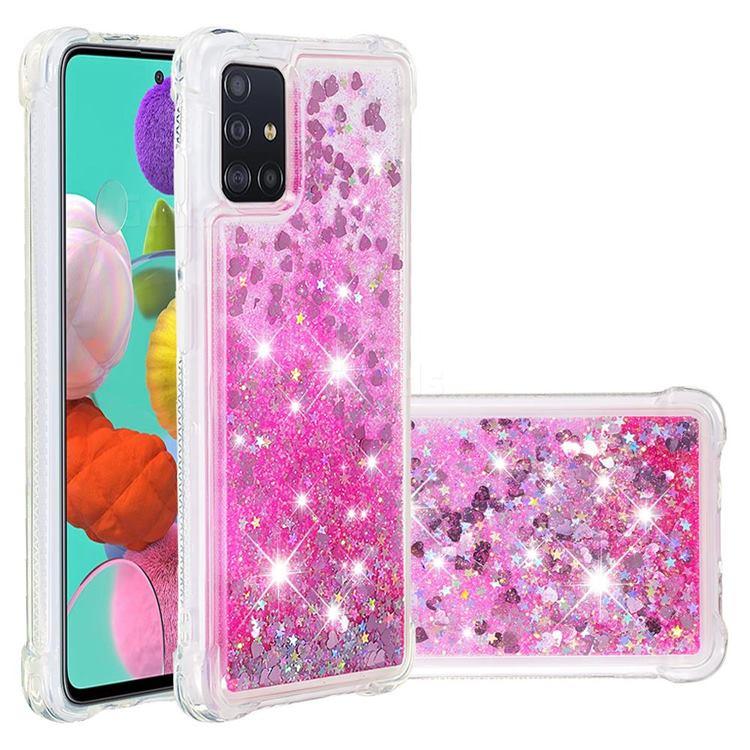 Dynamic Liquid Glitter Sand Quicksand TPU Case for Samsung Galaxy A51 4G - Pink Love Heart