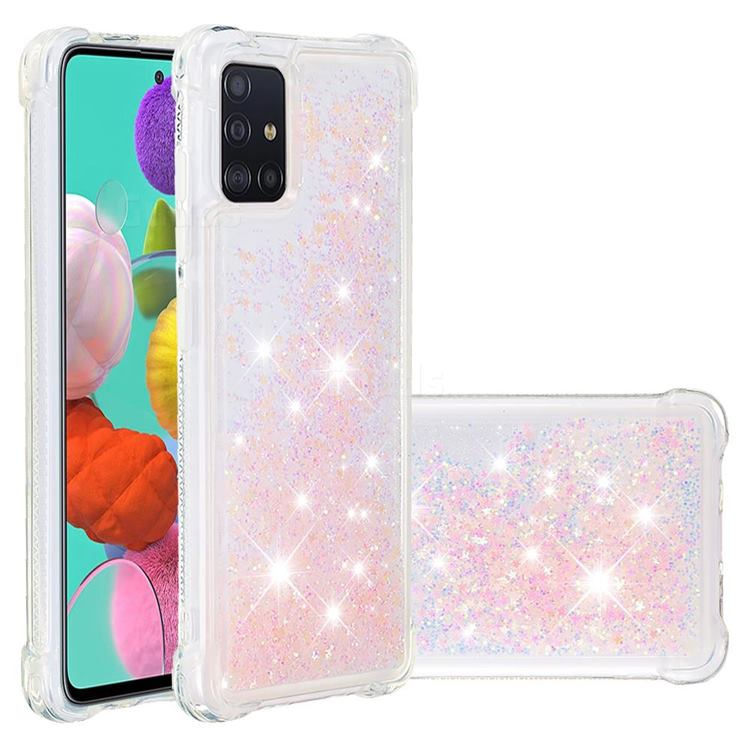 Dynamic Liquid Glitter Sand Quicksand TPU Case for Samsung Galaxy A51 4G - Silver Powder Star