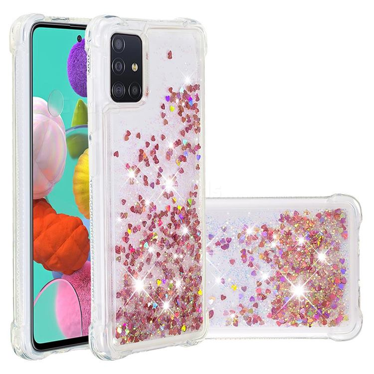 Dynamic Liquid Glitter Sand Quicksand TPU Case for Samsung Galaxy A51 4G - Rose Gold Love Heart