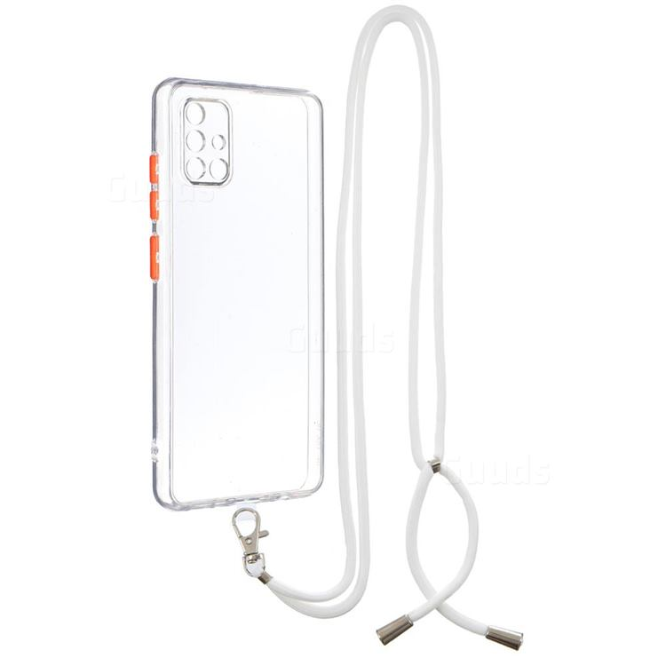 Necklace Cross-body Lanyard Strap Cord Phone Case Cover for Samsung Galaxy A51 4G - Transparent