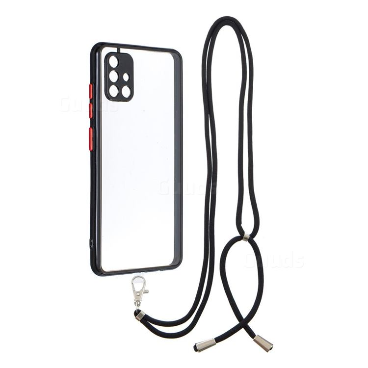 Necklace Cross-body Lanyard Strap Cord Phone Case Cover for Samsung Galaxy A51 4G - Black