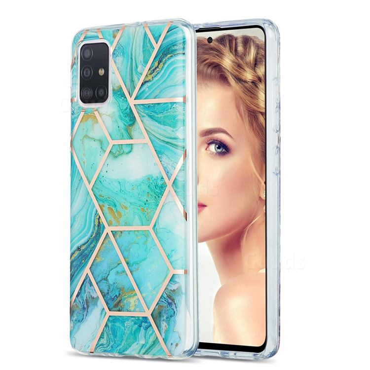 Blue Sea Marble Pattern Galvanized Electroplating Protective Case Cover for Samsung Galaxy A51 4G