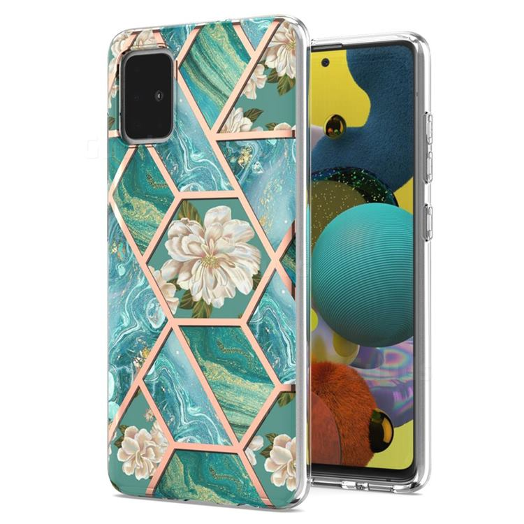 Blue Chrysanthemum Marble Electroplating Protective Case Cover for Samsung Galaxy A51 4G