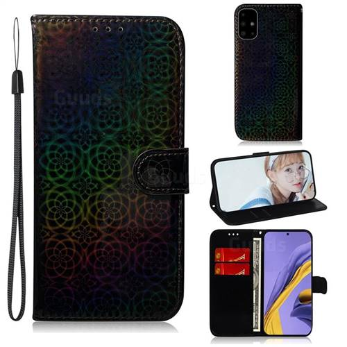 Laser Circle Shining Leather Wallet Phone Case for Samsung Galaxy A51 4G - Black
