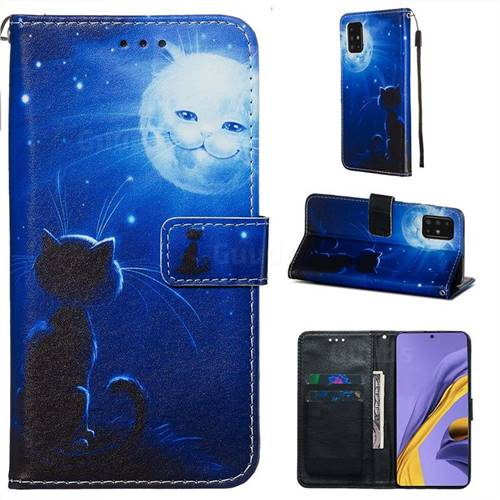 Cat and Moon Matte Leather Wallet Phone Case for Samsung Galaxy A51 4G