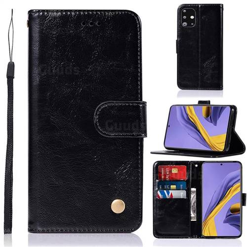 Luxury Retro Leather Wallet Case for Samsung Galaxy A51 - Black