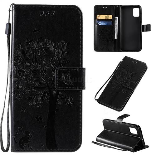Embossing Butterfly Tree Leather Wallet Case for Samsung Galaxy A51 4G - Black