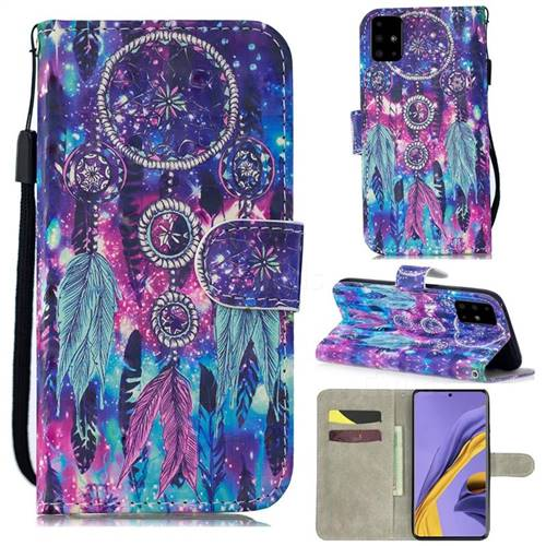 Star Wind Chimes 3D Painted Leather Wallet Phone Case for Samsung Galaxy A51