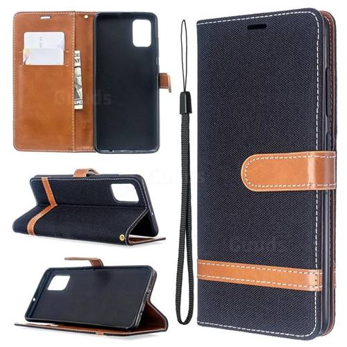 Jeans Cowboy Denim Leather Wallet Case for Samsung Galaxy A51 - Black