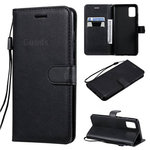 Retro Greek Classic Smooth PU Leather Wallet Phone Case for Samsung Galaxy A51 - Black