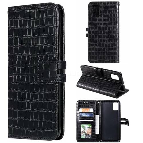 Luxury Crocodile Magnetic Leather Wallet Phone Case for Samsung Galaxy A51 4G - Black