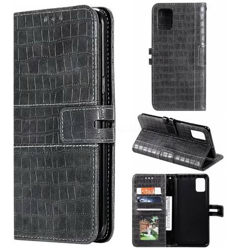 Luxury Crocodile Magnetic Leather Wallet Phone Case for Samsung Galaxy A51 - Gray