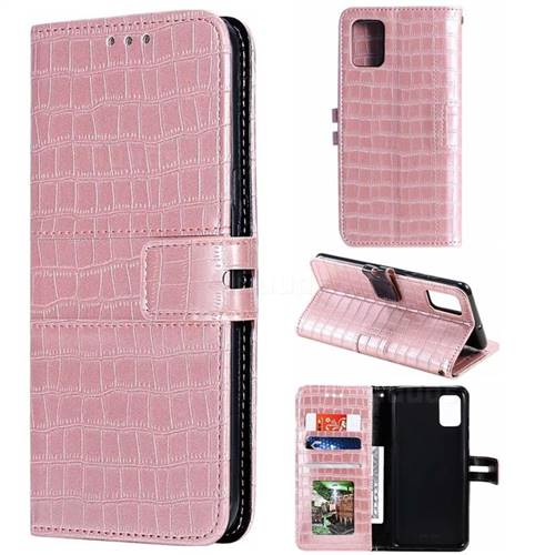 Luxury Crocodile Magnetic Leather Wallet Phone Case for Samsung Galaxy A51 - Rose Gold