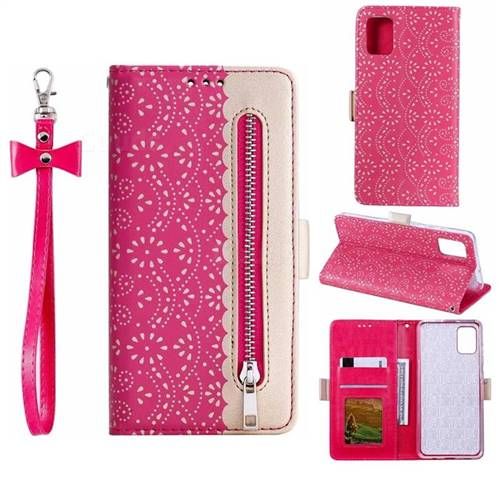 Luxury Lace Zipper Stitching Leather Phone Wallet Case for Samsung Galaxy A51 - Rose