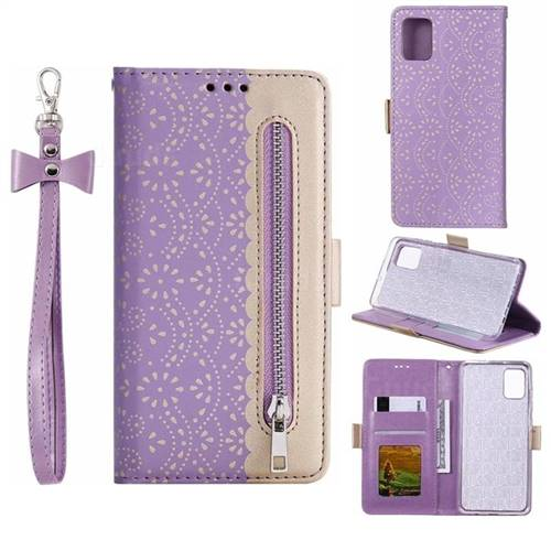 Luxury Lace Zipper Stitching Leather Phone Wallet Case for Samsung Galaxy A51 - Purple